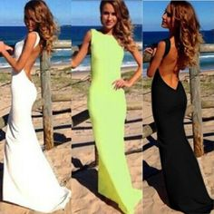 Women Fashion Sexy Backless White Long Maxi One-piece Clubwear Bandage Dress #Unbranded #Sundress #Clubwear