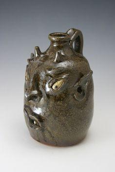 southern folk art face jugs   David Meaders Devil Face Jug Georgia Southern Folk Pottery