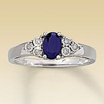 The sapphire is so striking. $359 from Kay Jewelers. I really really like this...and always make sure when you can get REAL stones not lab created...the real deal will carry its weight in value forever