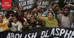 Protestors demand the government abolish the blasphemy laws, chanting slogans, calling them 'black laws' introduced by a dictator to prolong his rule.
