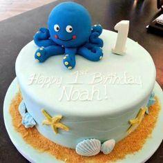 #first #birthday #cake for a #boy with sculpted bath toy #octopus #etobicoke #patriciascakecreations #kingsway #kids