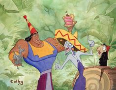 Watercolor painting of a scene from Disney's The Emperor's New Groove. The Emperor's New Groove Disney And Dreamworks, Disney Pixar, Atlantis The Lost Empire, Watercolor Disney, Disney Animated Movies, Emperors New Groove, Disney Face Characters, Funny Vines, Movie Collection