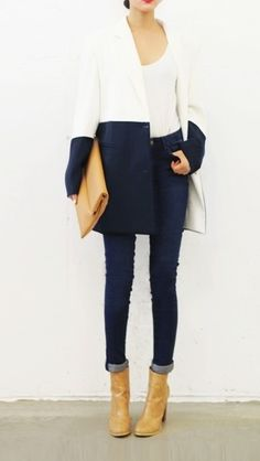 just perfect winter coat and outfit - white and navy blue.