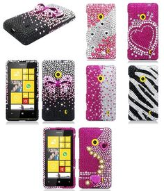 For Nokia Lumia 520 521 Pink Silver Full Diamond Bling Hard Cover Case Accessory 9.30 ebay free shipping