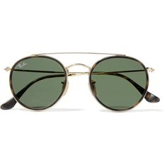 Ray-Ban Round-frame gold-tone and tortoiseshell acetate sunglasses (1,210 GTQ) ❤ liked on Polyvore featuring accessories, eyewear, sunglasses, ray-ban, tortoiseshell, aviator sunglasses, ray ban glasses, tortoise shell aviator sunglasses, aviator style sunglasses and tortoise shell sunglasses