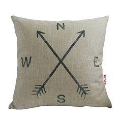 HOSL Retro Cotton Linen Square Vintage Throw Pillow Case Shell Decorative Cushion Cover Pillowcase Compass about 17.3*17.3 Inch(44CM*44CM) HOSL