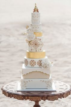 A Transportive, Exotic Moroccan-Inspired Shoot- Wedding Ideas - WedLuxe Magazine Diy Wedding Cake, Beautiful Wedding Cakes, Wedding Cake Designs, Wedding Desserts, Beautiful Cakes, Amazing Cakes, Gold Wedding, Exotic Wedding, Moroccan Wedding