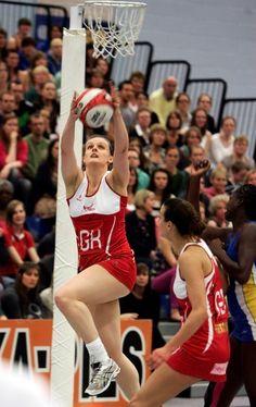16249387cc662 England defender Kerry Almond climbs highest to take the ball as team mate  Gemma Fletcher looks on. England Netball