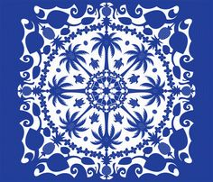 """Aloha Hawaiian Cheater Quilt fabric by designmagi on Spoonflower - custom fabric. Traditional Hawaiian Quilt applique motifs of palm trees, pineapples, coconuts, waves, swimming turtles, rings of flower leis, and crowns (a nod to Hawaii's bygone royalty) are all highlighted by blue and white """"stitching"""" on this cheater quilt."""