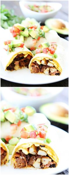 Chorizo Bacon Breakfast Burritos on twopeasandtheirpod.com These burritos make a great, hearty breakfast and they freeze well too!