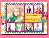 Barbie Birthday Party Invitation, Custom, Printable, Girl, Pink, Yellow, Blue, Flat Multi-Photo, 5x7, 4x6, Postcard