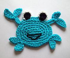 Crab crochet applique Krebs from DaWanda