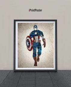 Captain America poster, Print, Grunge, Avengers print, Superhero poster, Marvel, Wall Art, Heroes Illustrations, Artwork, Comic poster, Gift.