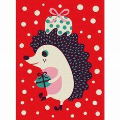 Greeting #card  #hedgehog by Helen #Dardik from www.kidsdinge.com Snow friends https://www.facebook.com/pages/kidsdingecom-Origineel-speelgoed-hebbedingen-voor-hippe-kids/160122710686387 #kidsdinge