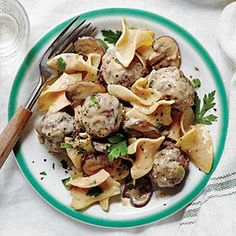Meatball Stroganoff   MyRecipes.com add worcestershire and dijon to meatballs. don't sautee onions, grate into meat mixture instead