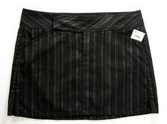 Calvin Klein Black Mini Skirt Size 13 Large Denim Metallic Stripes Juniors NWT