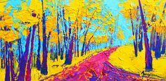 Searching Within 2 Enchanted Forest Series - Modern Impressionist Landscape Painting Palette Knife Canvas Print / Canvas Art by Patricia Awapara Impressionist Landscape, Landscape Art, Landscape Paintings, Landscapes, Colorful Wall Art, Colorful Paintings, Canvas Art, Canvas Prints, Palette Knife Painting