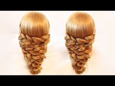 Причёска из кос на резинках - YouTube