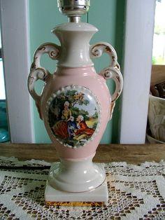 Yellow Boudoir Table Lamp French Victorian Stlye Porcelain