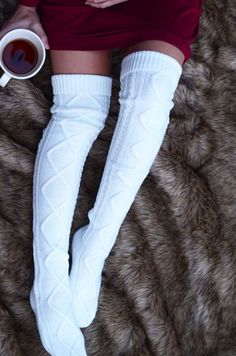 Thigh High Cable Knit Socks from Threadlust. Thigh High Boots Heels, Thigh High Socks, Thigh Highs, Heel Boots, Cable Knit Socks, Knitting Socks, Cute Socks, Winter Wear, Winter Time