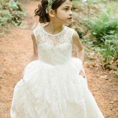 f380c05c6f9 Vintage Sweet O Neck Ivory Lace Flower Girl Dresses for Weddings Girls  first communion dresses