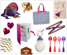 W-G Gift Guide: Fiancées, Girlfriends, & Lovers - earrings, chevron tote bag, key rings, diaries...