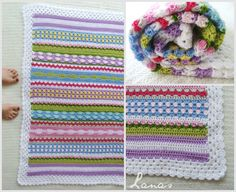 Fantasy Blanket by Lanas de Ana:...great stash buster and stitch sampler .. free pattern ❥Teresa Restegui http://www.pinterest.com/teretegui/ ❥