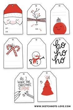 Freebie – Kostenlose Weihnachtsgeschenkanhänger - Sketchnote Love - New Ideas Free Christmas Gifts, Christmas Gift Tags Printable, Christmas Labels, Christmas Gift Wrapping, Christmas Goodies, Christmas Tag, Christmas Printables, Sketch Notes, Simple Doodles