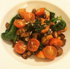 Deliciously Ella's warm sweet potato, mushroom and spinach salad #deliciouslyella #scrummy