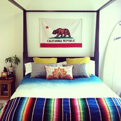 i like this but with a dominican, mexican, or spanish flag :) My New Room, My Room, Spare Room, Room Inspiration, Interior Inspiration, Urban Outfitters, Dreams Beds, Home Bedroom, Bedrooms