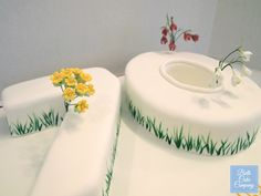 70th Birthday Cake with Wired Sugar Flowers by Bath Cake Company