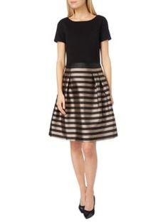 Esprit Collection Kleid mit Streifenmuster in schimmernder Optik in Grau / Schwarz - 1