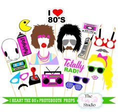 23pc I Heart The 80's Themed Photo Booth Props/Wedding Photobooth - DIGITAL FILE