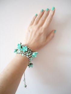 Crochet Wrap Bracelet Mint Green Wrap by ANATOLIANDESIGN01 on Etsy