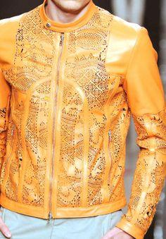 Patternprints Leather Jacket.