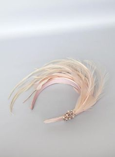 Hair Accessories Giovannio Jewel Feather Headband in Pale Pink - Hand-dyed feathers Sateen wrapped headband for secure fit One size fits most Made in USA Diy Hair Accessories, Bridal Accessories, Headpiece Wedding, Fascinator Headband, Hair Wedding, Wedding Shoes, Feather Headband, Gatsby Headband, Diy Hat