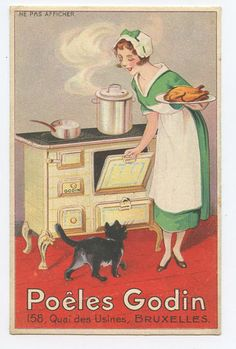 Lady & Black Cat advertising Gosin Woven original old 1910s Poster postcard