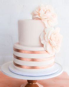 Copper + blush by Erica OBrien Cake Design Birthday Cake Roses, Wedding Cake Roses, Wedding Cakes, 14th Birthday Cakes, Elegant Birthday Cakes, Pretty Cakes, Beautiful Cakes, Indian Cake, Engagement Cakes