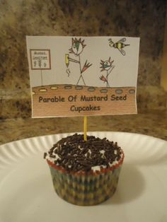 The Parable of the Mustard Seed Cupcakes, Bible Cupcakes<br> Mustard Seed Parable, Mustard Seed Faith, Bible School Crafts, Bible Crafts, Food Crafts, Bible Stories For Kids, Bible Lessons For Kids, Seed Crafts For Kids, Bible Food