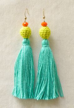 Tassel Earrings Citrus by LoveNikita on Etsy