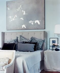 something blue A great complement to classic colors. Pair slate grey with a pale shade of powder blue.
