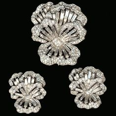 Trifari 'Alfred Philippe' Pave and Baguettes Pansy Pin Clip Clip Earrings Set | eBay