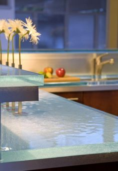 Radiant Glass Counter Tops in the Kitchen