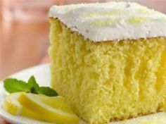 Betty Crocker Lemonade Party Cake- This moist lemon cake drizzled and filled with an easy lemon filling will remind you of summer any time of year. Lemon Desserts, Lemon Recipes, Just Desserts, Cake Recipes, Dessert Recipes, Fudge Recipes, Party Recipes, Poke Cakes, Cupcake Cakes