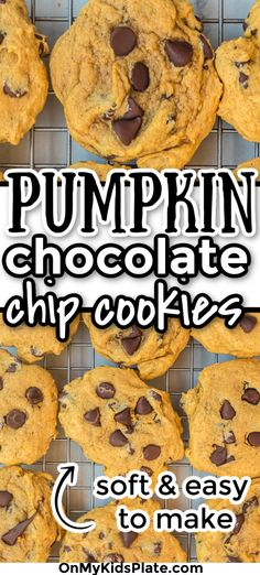 These Soft Chocolate Chip Cookies are my favorite! They have just the right amount of soft goey pumpkin flavor, and an important tip so they don't become too cakey. Serve fresh from the oven and make a double batch of these cookies because they are the best! #pumpkincookies #pumpkinspice #fallcookies #pumpkinrecipes #softcookies Chocolate Whoopie Pies, Pumpkin Chocolate Chip Cookies, Fall Cookies, Yummy Cookies, Pumpkin Recipes, Fall Recipes, Dessert Ideas, Fun Desserts, Bake Sale Recipes