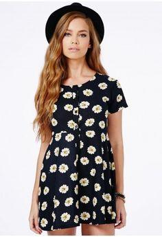 Black Daisy Skater Shirt Dress