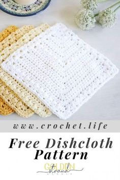 Crochet Vintage, Crochet Diy, Crochet Gifts, Dishcloth Crochet, Crochet Towel, Crochet Ideas, Doilies Crochet, Crochet Summer, Crochet Granny