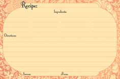 recipe templates free printable | Recipe Card Style Two – This card is flexible when you don't need ...