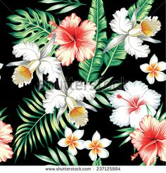Tropic summer hibiscus, lily and orchid seamless vector pattern with palm banana leaf and plants. Composition with flower jungle background. Hand drawn fashion bunch exotic wallpaper.