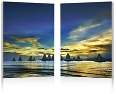 Wholesale Interiors FG-1074AB Sunset Sails Mounted Photography Print Diptych - Each